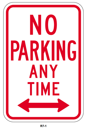Picture of No parking any time with double arrow