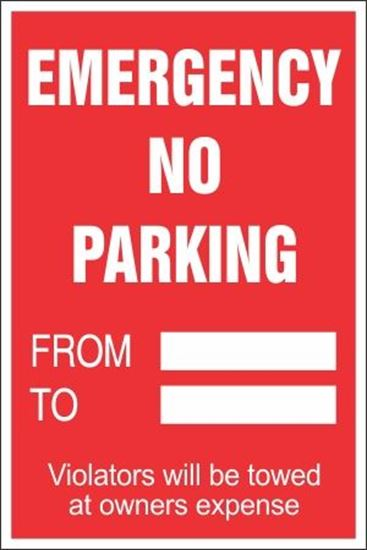 Emergency No Parking Signs Temporary Paper Shipped