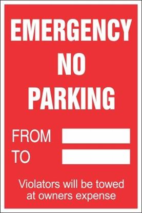 Picture of Emergency No Parking Coroplast Signs