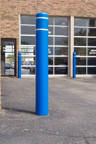 Picture of Post Guard Blue Bollard cover with Reflective white Stripes