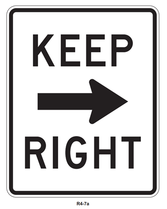 "Picture of 18""x24"" Keep Right with Arrow"