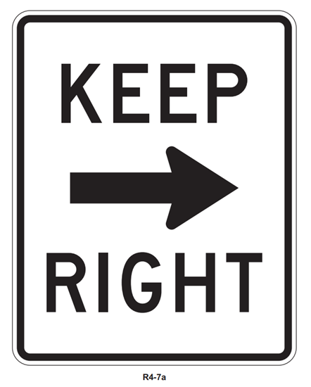 "Picture of 24""x30"" Keep Right with Arrow"