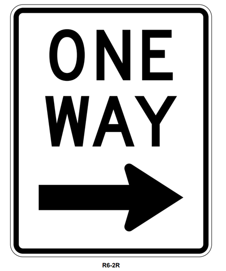 "Picture of 24""x30"" One Way with Right Arrow"