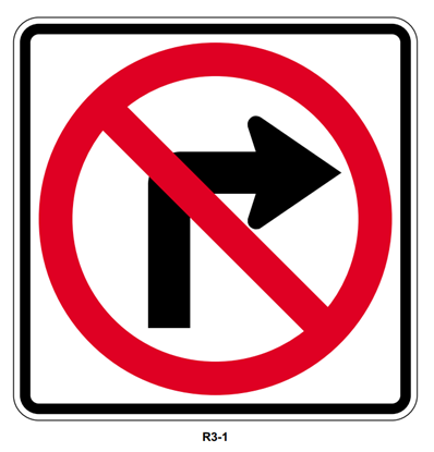 "Picture of 30"" No Right Turn Symbol"