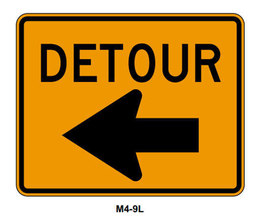 "Picture of 30""x24"" Detour with Left Arrow"