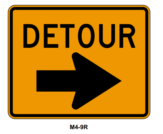 "Picture of 30""x24"" Detour with Right Arrow"