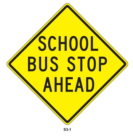 "Picture of 24""x24"" School Bus Stop Ahead"