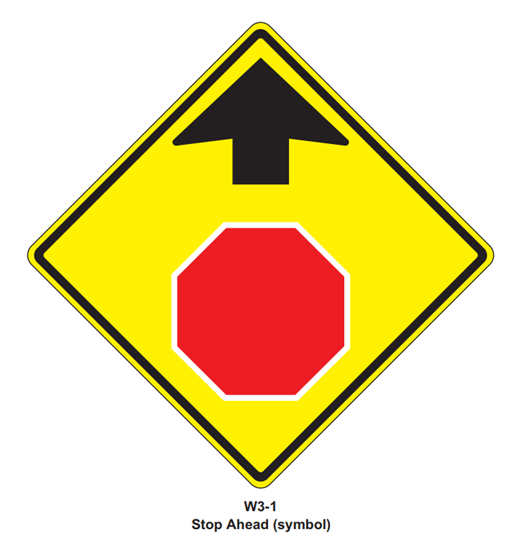 "Picture of 36""x36"" Stop Ahead Symbol"