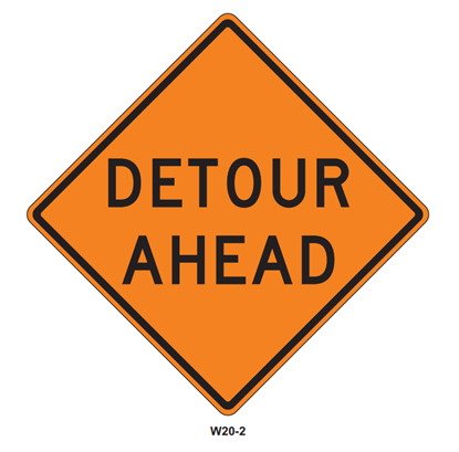 "Picture of 36""x36"" Detour Ahead"
