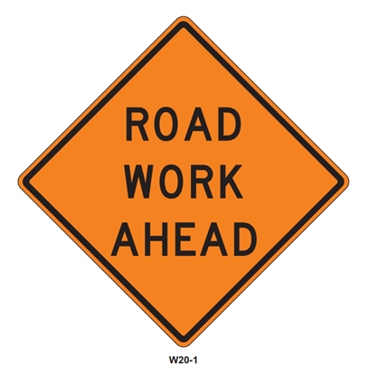 """Picture of 48""""x48"""" Road Work Ahead"""