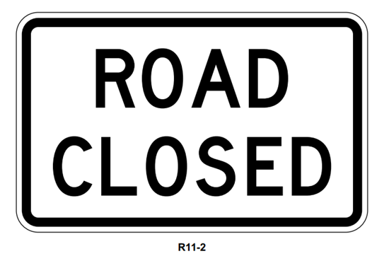 "Picture of 48""x30"" Road Closed"