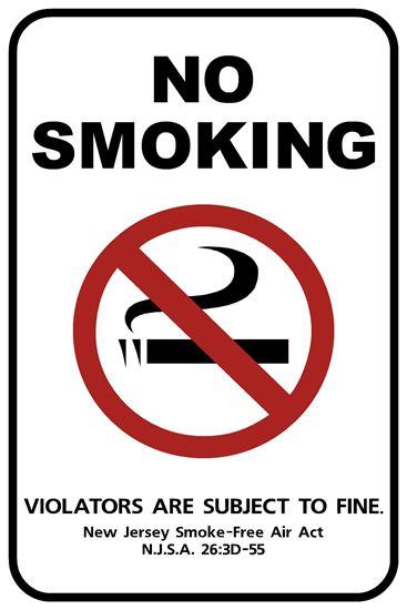 "Picture of 12""x18"" New Jersey Official No Smoking Sign"