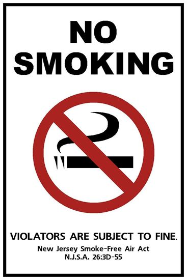 "Picture of 6""x9"" New Jersey Official No Smoking Sign"