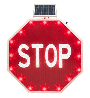 "Picture of Solar Powered Flashing Stop Sign - 30"" EGP"