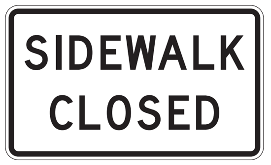 "Picture of 24""x12"" R9-9 Sidewalk Closed"