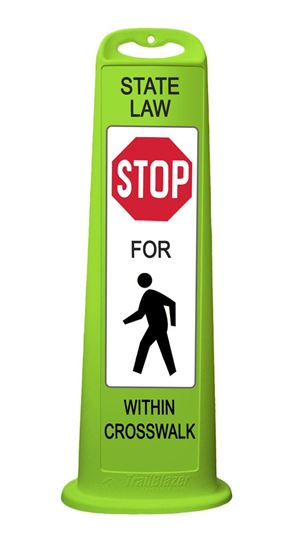"Picture of 40"" Vertical Panel Lime - Trailblazer - State Law Stop For Pedestrian Crossing"