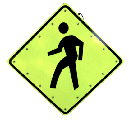 Picture of Solar Powered LED Pedestrian Crossing Sign W11-2 30x30